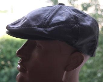 Black leather IVY newsboy cap Cabbie hat Driving cap Leather Flat Cap Baker  Cap 0e698ee57a5d