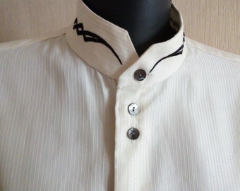 fe31f38f8ca00f Boho men s embroidered shirt Mandarin collar shirt Cream wedding shirt  Ivory grooms long sleeve shirt