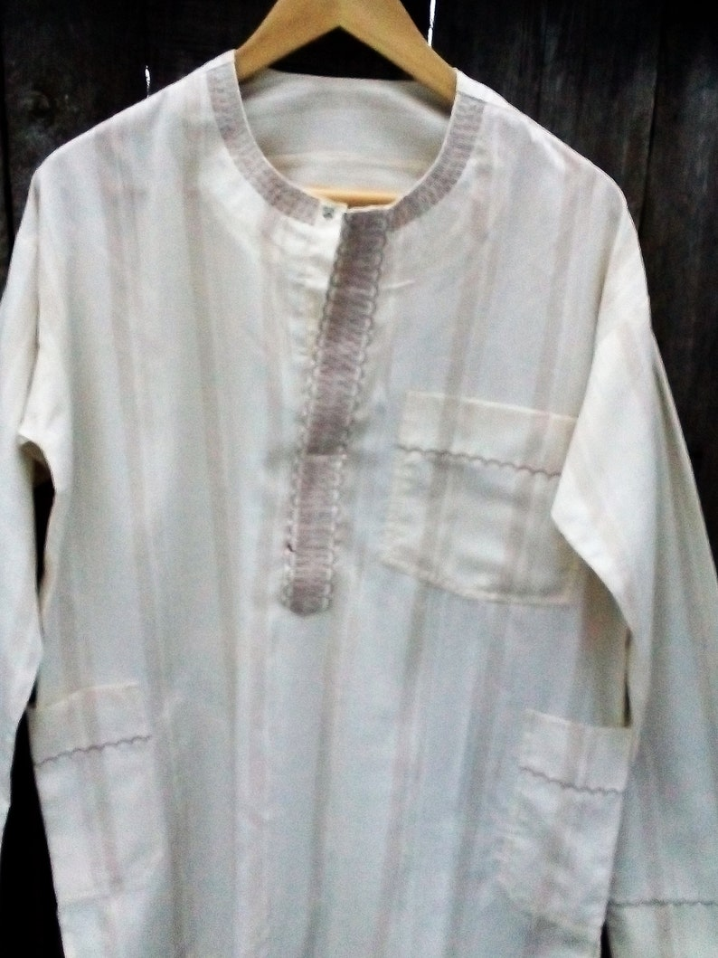 a14a8b511a8 Boho Ivory embroidered polo shirt Indian men's tunic shirt | Etsy