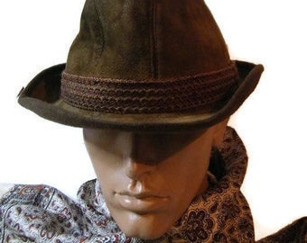 Dunn & Co Suede Fedora Hat for Men VINTAGE brown leather Trilby Hat HUSH PUPPIES Casual headwear size 7 Dandy Hipster Hat