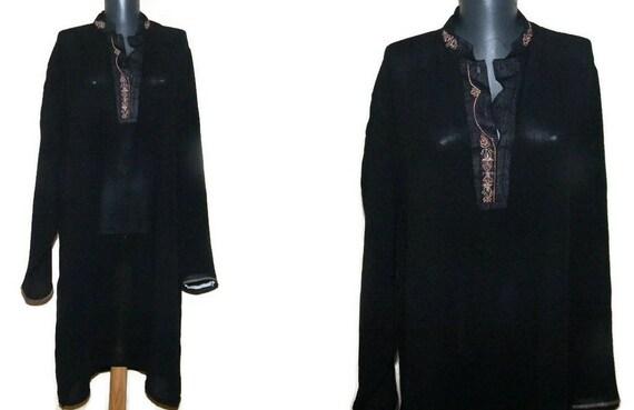 Boho Embroidered Dress shirt Black Indian tunic plus size kurta oriental shirt tribal embroidery tunic hippie ethnic festival tunic zqvNr734kh