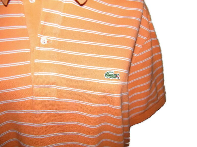 aa929ef7802c6 Vintage Lacoste polo shirt orange striped t-shirt cotton short sleeve  summer shirt Lacoste size L Small Logo Short izod lacoste shirt