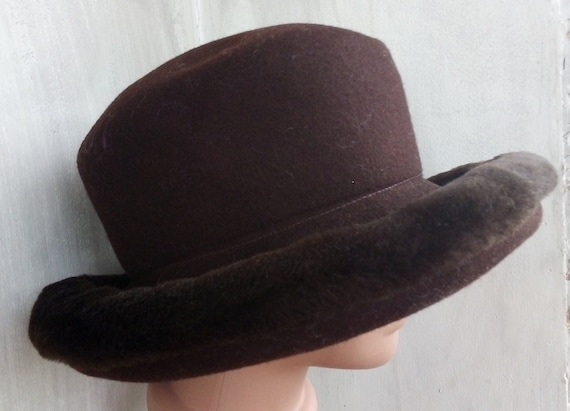 3af3419bd Vintage Ladies Bowler hat Derby hat Wool felt bowler hat Winter Choco Brown  bucket Hat Women's Formal felt fur brim hat