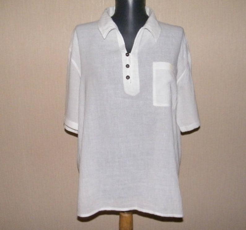 1c7424d95a8 Vintage white men's polo shirt Thin summer shirt Light | Etsy