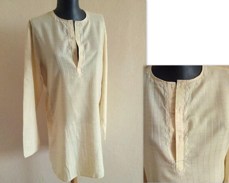 7fd4277c984 Light beige Indian kurta shirt Embroidered Boho tunic Ethnic | Etsy