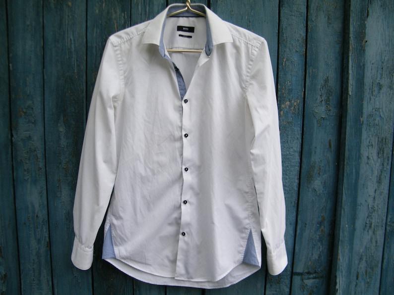 d03a7c107 HUGO BOSS white shirt Designer shirt size M Cotton Long sleeve | Etsy