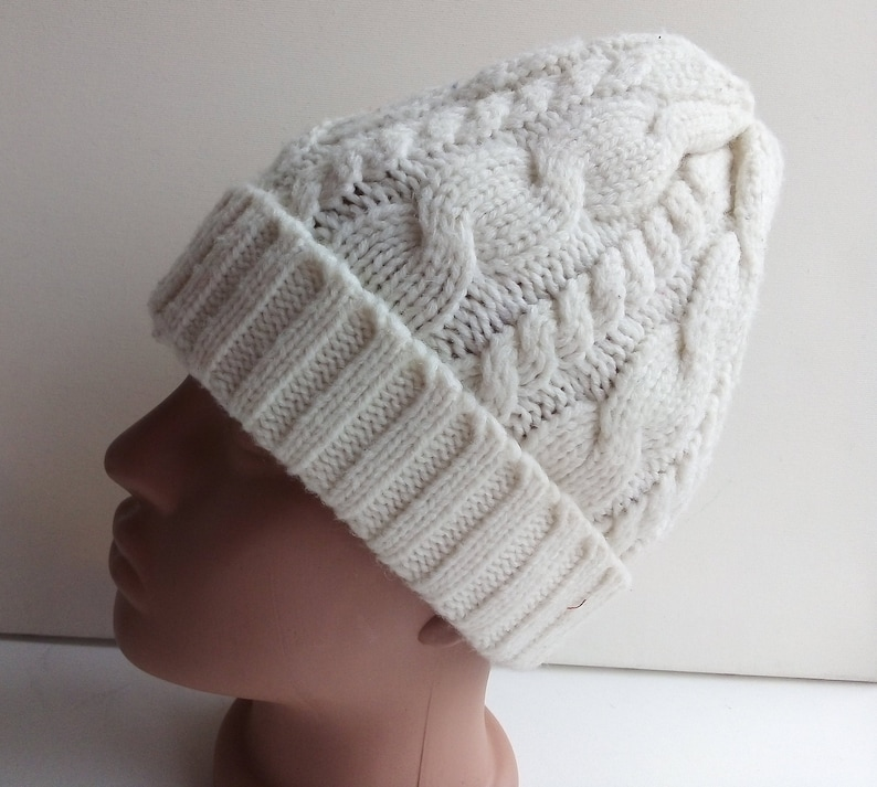ed8553fa7eb Vintage White knit beanie hat Braided cable knitted hat Ski