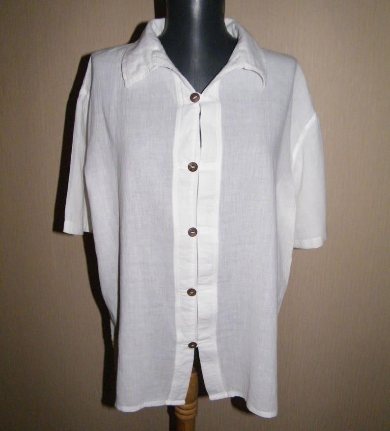 3592b8d40 Vintage white Boho shirt Thin cotton Hippie shirt Short sleeve