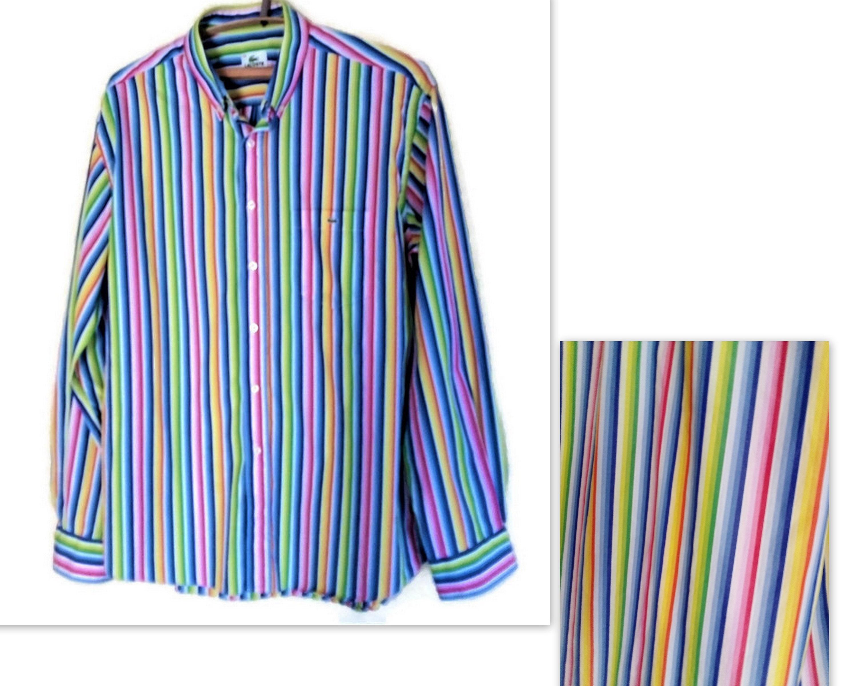 2ea8d382 LACOSTE men's shirt Loud striped Oxford shirt Rainbow striped long sleeves  shirt French Fashion shirt