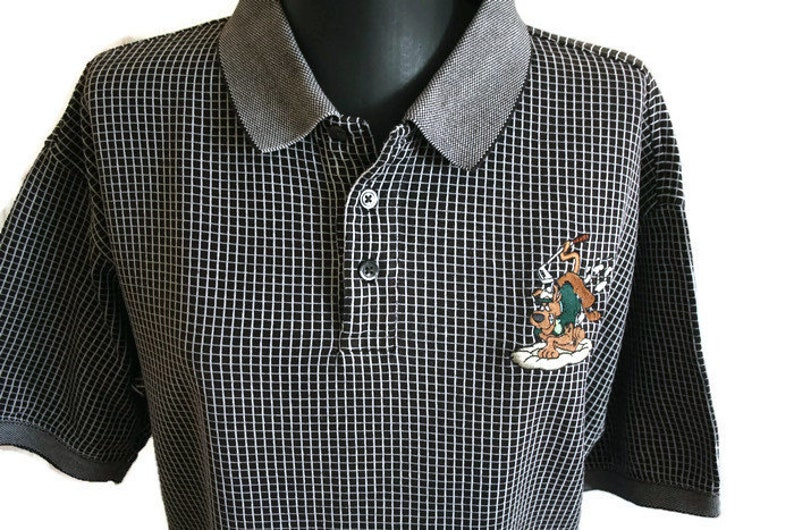 452d72877e3 Vintage 90's Warner Bros shirt Black White polo shirt   Etsy