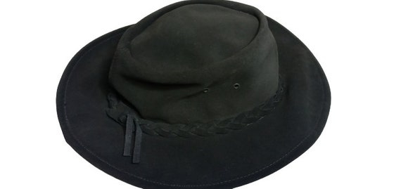 Vintage Black real nubuck leather Cowboy hat Weste