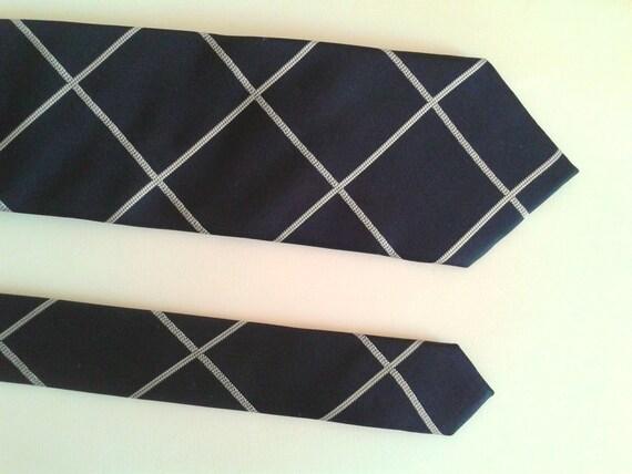 Vintage negro cuadros corbata de seda corbata novio tie compromiso corbata Soprano negro blanco cuadros nudo corbata de Windsor de regalo de boda