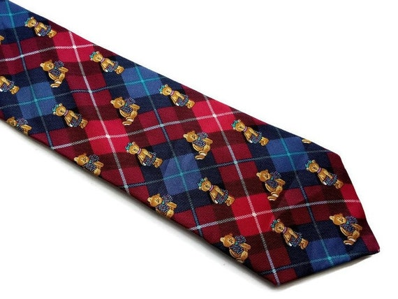 Vintage Teddy Bear Designer Tie Red Blue Plaid Silk Tie Austin Etsy