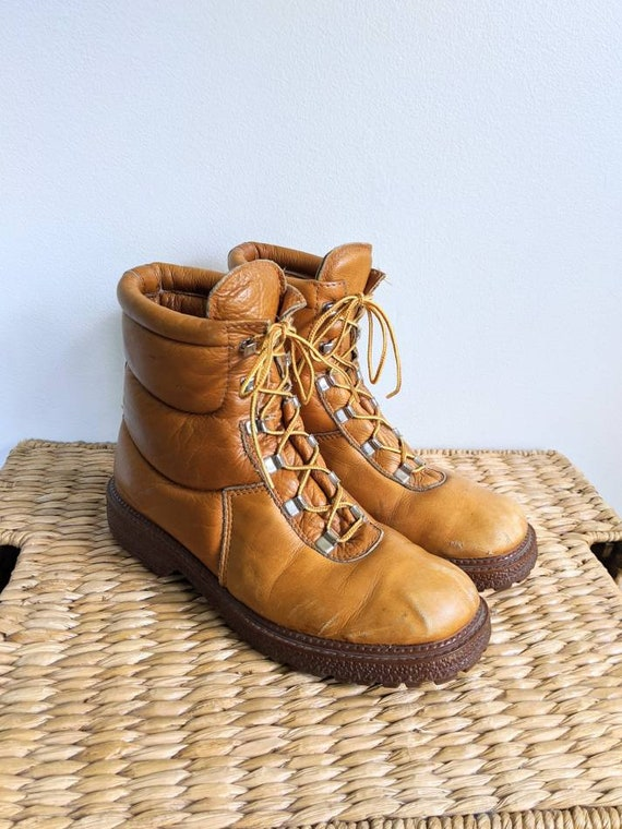 Vtg Cognac Distressed Leather Puffer Hiking Boots