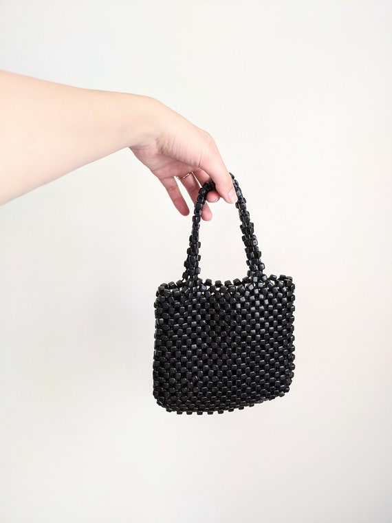 Vtg Minimalist Black Beaded Mini Hand Bag Purse