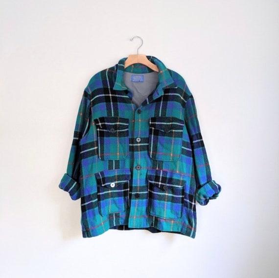 Vtg PENDLETON Blue Green Plaid Flannel Jacket Shir