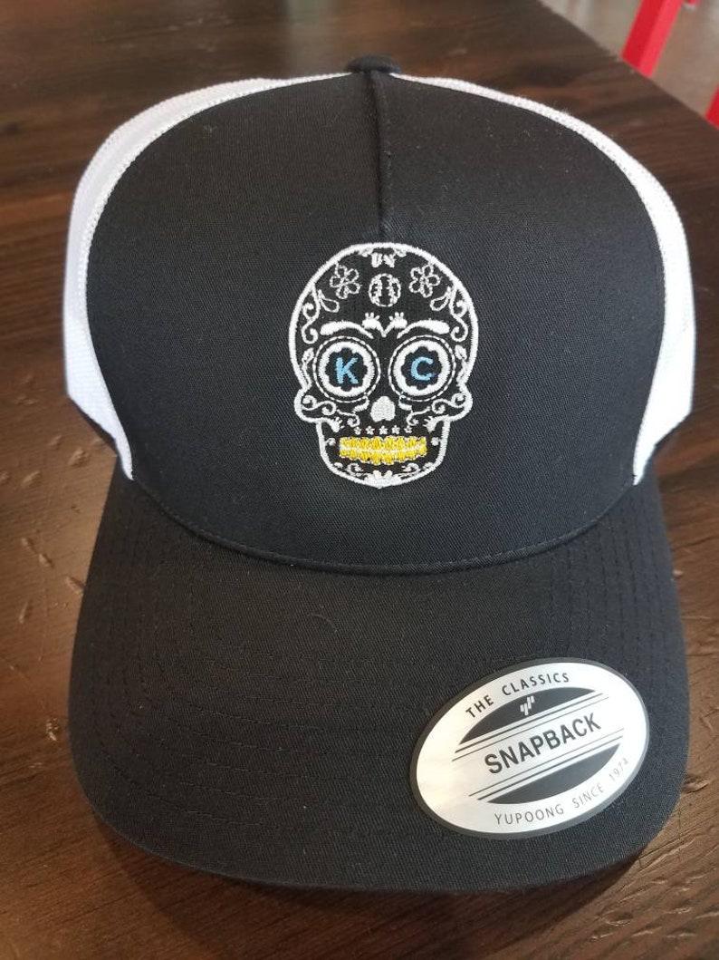 cb37c2d6 KC Royals sugar skull baseball trucker hat