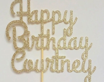 Personalized Name Cake Topper Birthday Glitter
