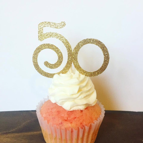 50th Birthday Cupcake Toppers Set Of 12 Fifty