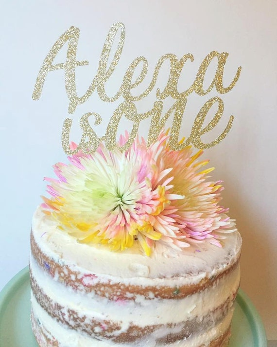 Personalized Name Birthday Cake Topper First Glitter