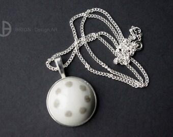 Chain 7 points, porcelain, brown/white, 60 cm silver 925/version antique Silver