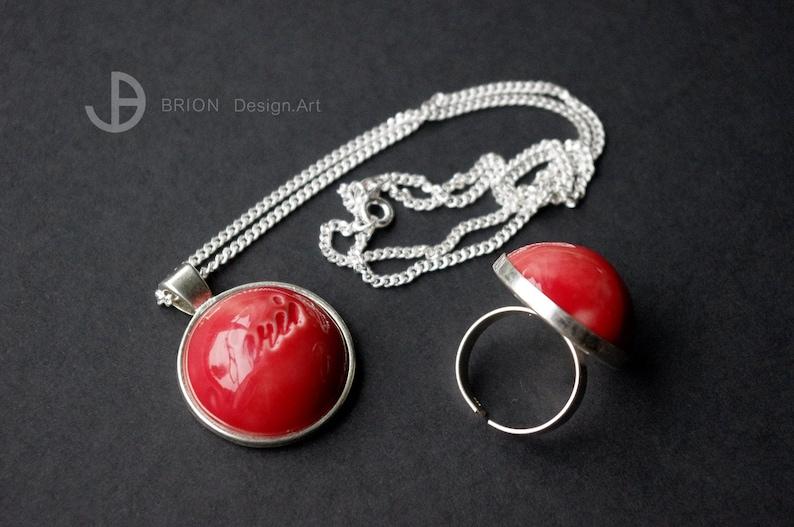 Spanish Red SET Chain Paris /& Ring Porcelain