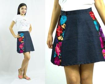 Denim Short Skirt - Embroidery - Mexican - Ethnic - Boho - Flowers -
