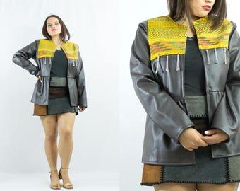 Women's Leather Jacket - Ethnic - Vintage - Embroidered - Folk - Boho