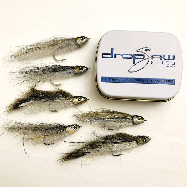 6 Readymade Fly Fishing Flies or Spin Rod Lures by Drop Jaw Flies Minpin Tin 6 pack