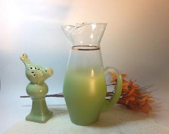 Blendo Vintage West Virginia Blendo Olive Green Glass Pitcher Vintage Glass Mid Century Collectible