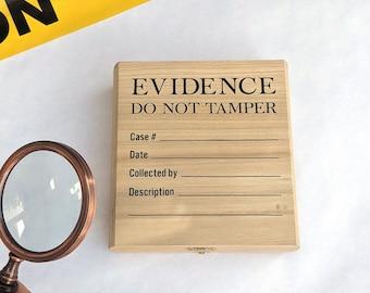 Evidence Wood Box, Halloween Decor, True Crime Gift, True Crime Accessory, Altar Storage, Spooky art, True Crime Art Decor, Jewelry Storage