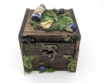 Witchy stash box, witchy art, sodalite crystal, halloween Decor, crystal storage box, Halloween miniatures, altar box, divination tool