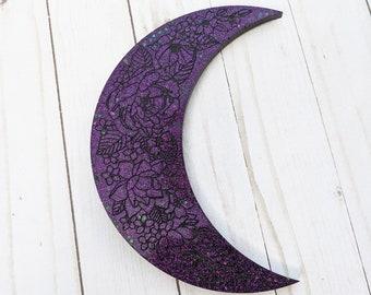 Crescent Moon Wall Hanging, Glittery Art, Moon Phase Decor, Purple glitter decor, Moon Wall Hanging, Resin Wall Art, Iridescent Decor,