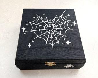 Spider Web Wood Box, Halloween Decor, Tarot Card Box, Altar Storage, Spooky art, Emo Kid Art Decor, Witchy Decor Art, Crystal storage