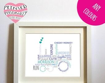 Child's personalised tractor print - Christmas gift - Birthday - Digital artwork - Customised print - DIY gift - Boy's bedroom - New baby