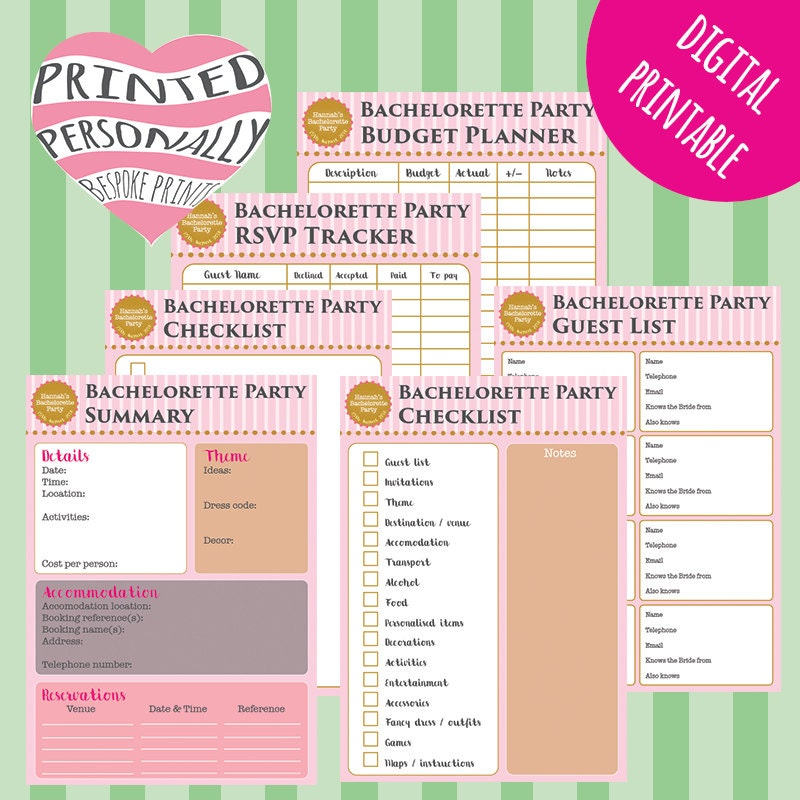 Personalised Bachelorette Party Planner Printable Hen Party