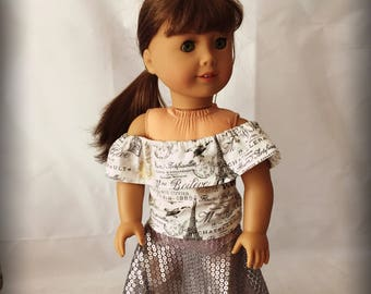 """Shear Silver Sequined Hi-Lo Skirt and Paris Off the Shoulder Crop Top Clothes for 18"""" dolls.  Fits American Girl, My Life and Our Generatio"""