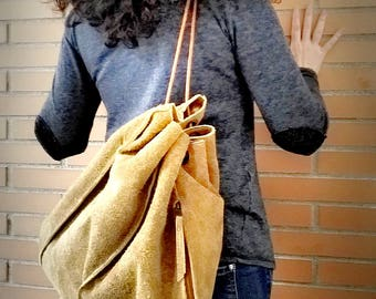 CROSSBODY BACKPACK LEATHER- handmade- Original Trapezoidal shape- honey color- rustic and  casual look -bag and backpack-gift for her