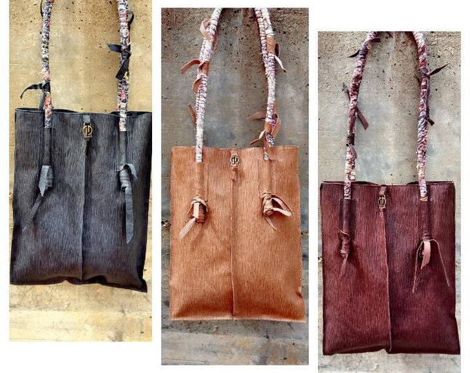 MAXI TOTE ETHNIC Handmade fabric and leather oversize shopping bageveryday baggift for her