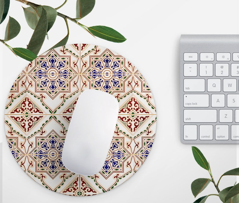 Mosaic Tile Mouse Pad Office Mousemat Desk Accessories Bohemian Round Mouse  Pad Gift For Her School Decor Job Gift