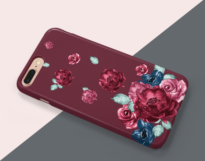 Floral Phone Case Floral Flower Available for iPhone X, XS, XR, Xs Max, 8,  8 Plus, 7, 7 Plus, 6, 6S, 6 Plus, SE, 5, Samsung Huawei