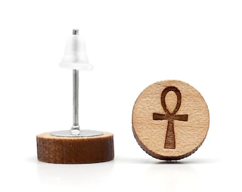 Egyptian cross of life earrings in varnished and laser-cut wood. ânkh egyptian symbol engraved or another of your choice
