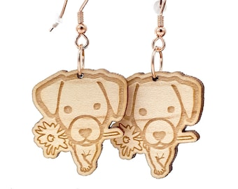Jack Russell earrings, small dogs in engraved and laser cut wood. Customizable cute jewel: wood and frame of your choice