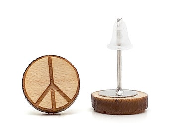 Peace and love earrings, symbol of peace and love. Hippie wooden earrings, jewel from the 1960s. Available in 3 shades