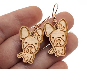 French Bulldog dog earrings in engraved and laser cut wood. Cute jewel. Choice of wood and frame color