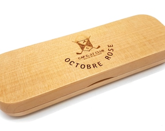 Pen case with or without pen, or pen alone, in beech wood laser-engraved with the visual or message of your choice. Office dad gift