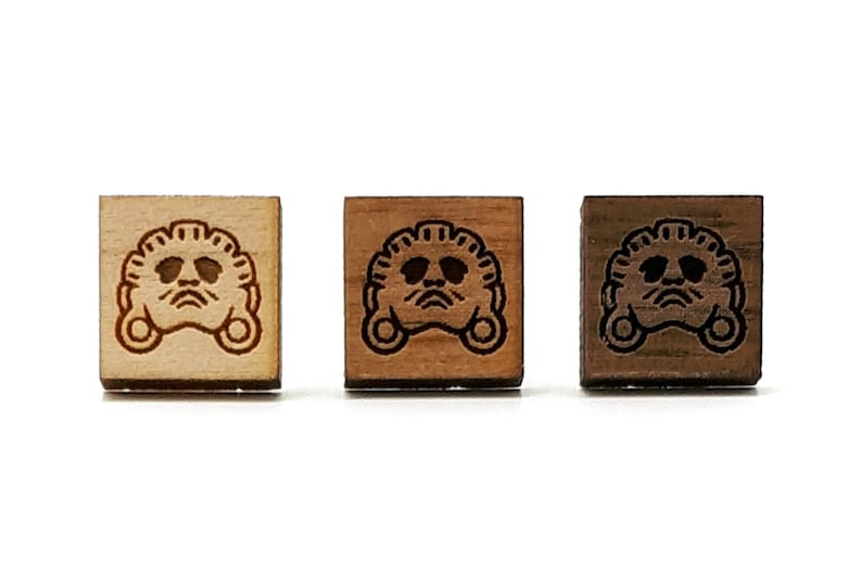 Aztec earrings Mexican God xochipilli Square shape Ancient civilization jewel in wood engraved with laser Available in three shades