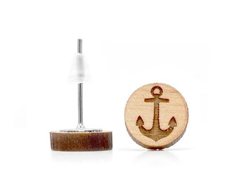 Boat anchor earrings. Varnished wood engraved and laser cut. Sailboat, ship travel earrings. Holidays Jewel. Lift the anchor, leave the port