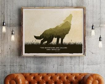 Wolf art poster, wolf art print, american wolf, yellowstone wolf, american wild life art, National parks animals , animal poster