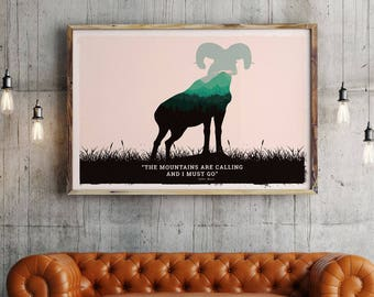 Bighorn sheep poster, Bighorn sheep art print , Bighorn sheep art, american wild life art, National parks Bighorn sheep , animal poster